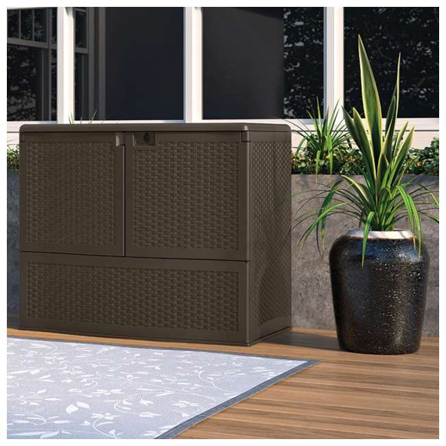 3 x VDB19500J Suncast 195 Gal Resin Wicker Patio Storage & Entertaining Station, Java (3 Pack) 3