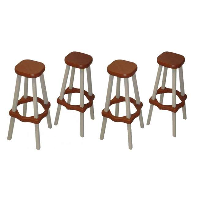 "LABS26-R Leisure Accents 26"" Patio Barstool Set, Redwood/Warm Gray (4 Pack)"