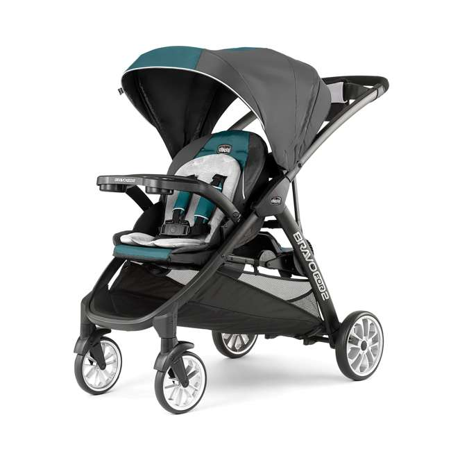 CHI-0707978133 Chicco BravoFor2 LE Standing/Sitting Double Stroller, Eucalyptus