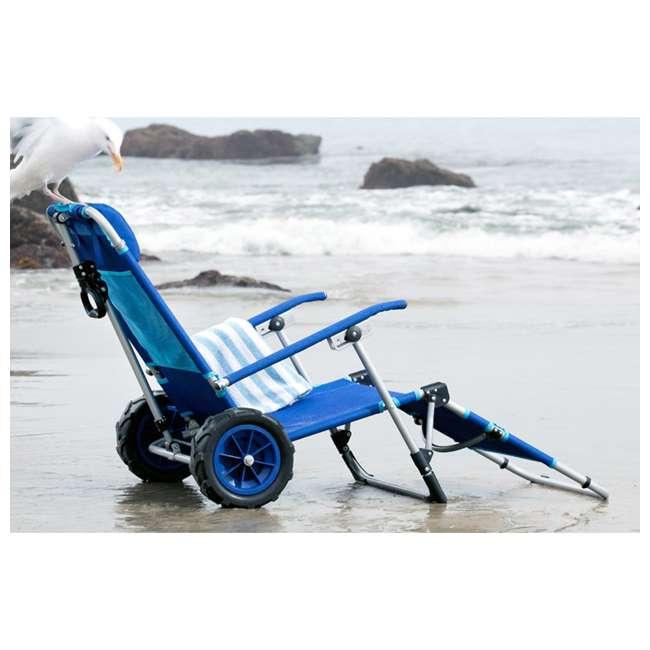 MAC-BD-200 Mac Sport 2-in-1 Beach Day Folding Lounger Chair & Wagon Cart w/ Lock, Blue 5