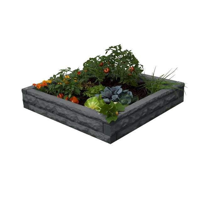 GW-RBG-DAR Good Ideas Garden Wizard Outdoor Self Watering Raised Garden Bed, Dark Granite