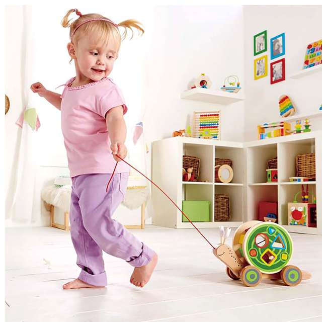 HAP-E0349 Hape Walk-A-Long Snail Wooden Push and Pull Toy 4