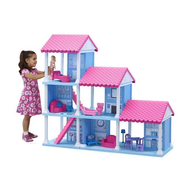APT-90750 American Plastic Toys Fashion Doll Delightful Doll House w/ 25 Furniture Pieces 3