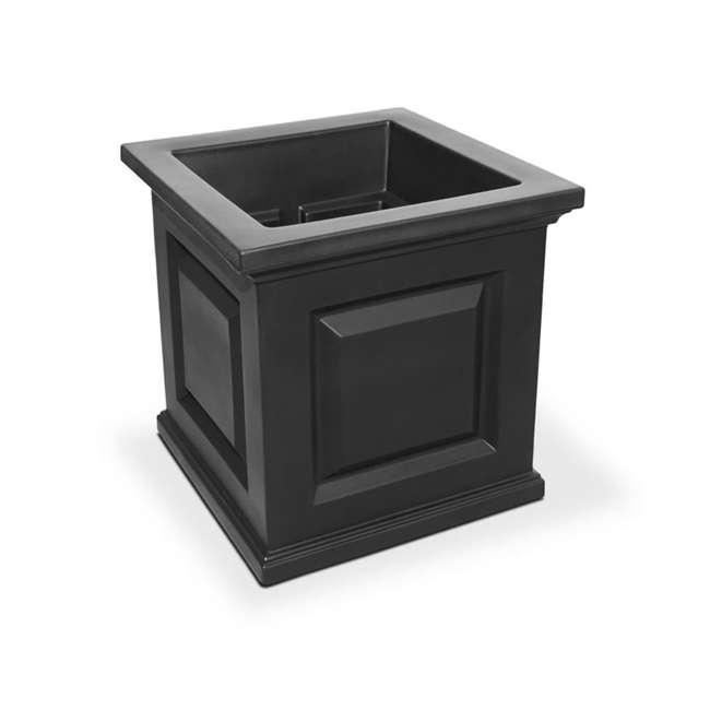 MO-5865-B Mayne Nantucket Large 16 In Square Plastic Outdoor Flower Pot Planter Box, Black 1