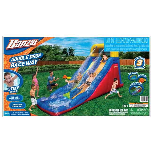 BAN-90360 Banzai Double Drop Raceway Water Slide and Splash Pool  4