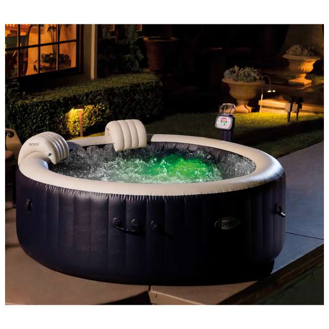 28505E + 2 x 28405E + 2 x 28502E Intex PureSpa 4-Person Inflatable Hot Tub, Slip-Resistant Seat & Foam Headrest