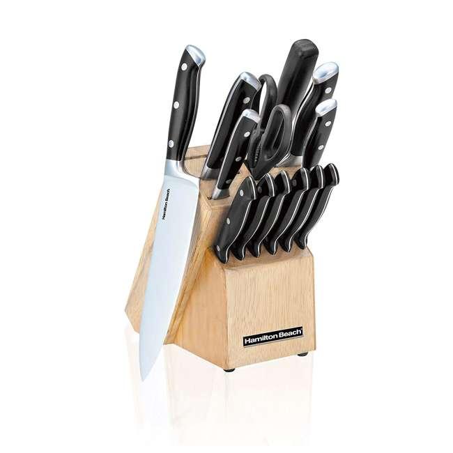 HDC601 Hamilton Beach 14 Piece Double Bolster Wooden Knife Block