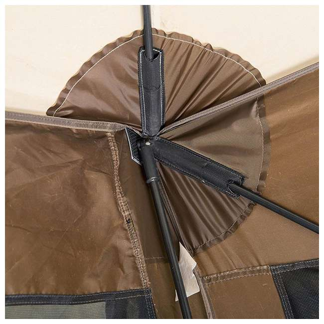 CLAM-PV-9882 + CLAM-PV-FLOOR-12878 Clam Quickset Pavilion Camper Brown Tent and Floor Tarp 4