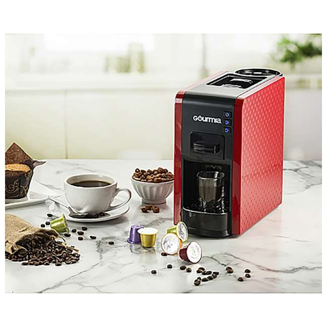 GCM7000R Gourmia GCM7000R Multi Capsule Espresso Coffee Machine with Pod Cartridges, Red 3