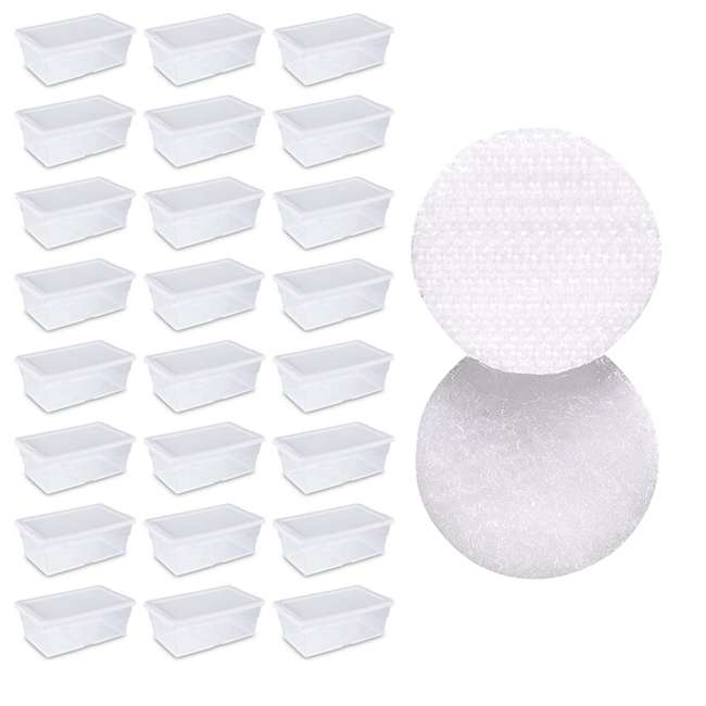 24 x 16428012 + 91824 Sterilite 6-Qt Box (24) Bundled with VELCRO® Brand Fastener Pads (200)