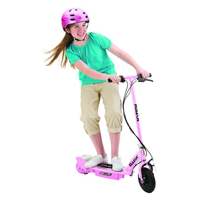 13111163 + 97783 + 96783 Razor E125 Electric Rechargeable Scooter + Bicycle Helmet + Elbow & Knee Pad Set 5