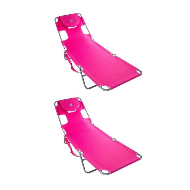 CHS-1002P Ostrich Chaise Lounge Folding Portable Sunbathing Poolside Beach Chair (2 Pack)