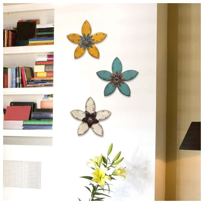 SHD0166-U-A Stratton Home Wood & Metal Hand Painted Antique Flower Decor, Espresso(Open Box) 1