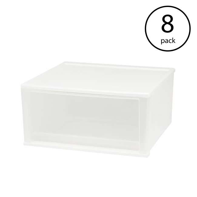 129873-4PK IRIS USA 7 Quart Hard Plastic Extra Large Stacking Tote Drawer, White, (8 Pack)