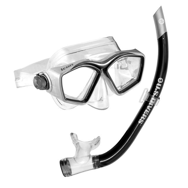 240030-US U.S. Divers Low Profile Easily Adjustable Icon Mask and Airent Snorkel Combo