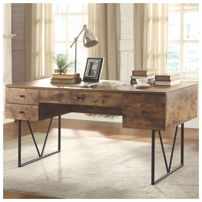 CH-800999-U-B Coaster Home Furniture Barritt 4 Drawer Writing Desk, Antique Nutmeg (Used) 2