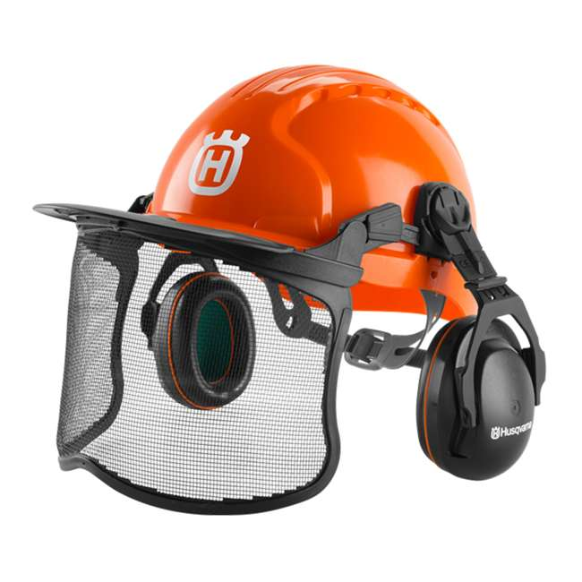 HV-PA-592752601 Functional Forest Helmet with Ear Muffs and Mesh Visor, Orange