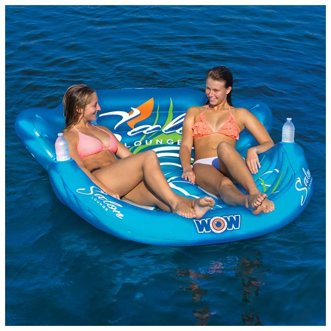 14-2060 WOW Watersports 14-2060 Double Salon Float Reclining Lounge for 2 Person, Blue 4