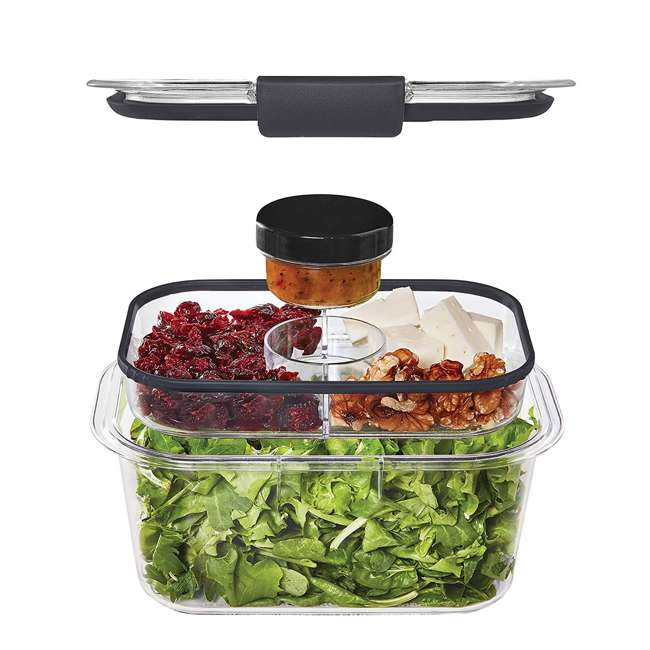4 x 2027420 Rubbermaid Brilliance Medium Deep 4.7 Cup Food Salad Storage Container (4 Pack) 5