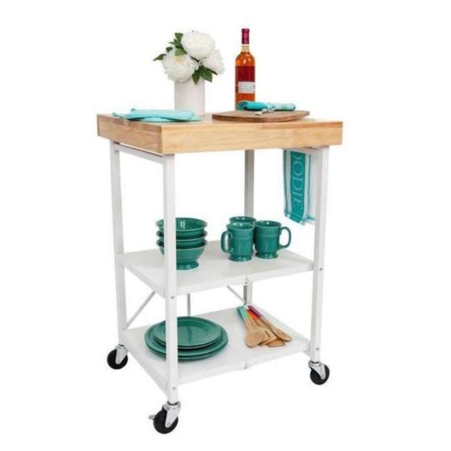 RBT-04 + R-KC-01 Origami Kitchen Island Bar Cart with Double Wine Rack 1