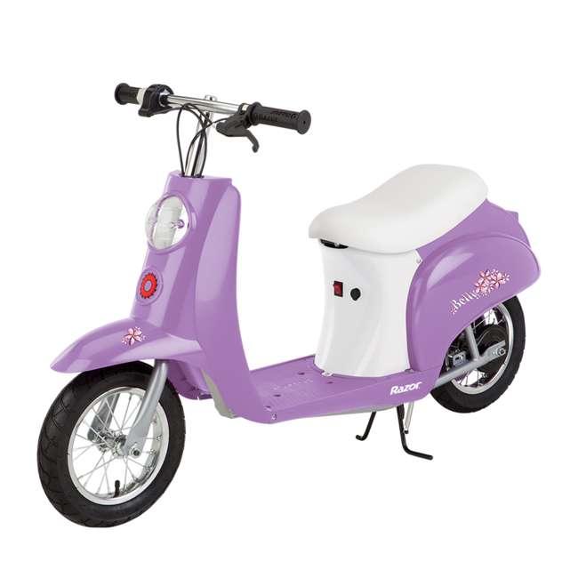 15130661 + 97780 Razor Pocket Mod Electric Retro Scooter, Purple & Helmet 2