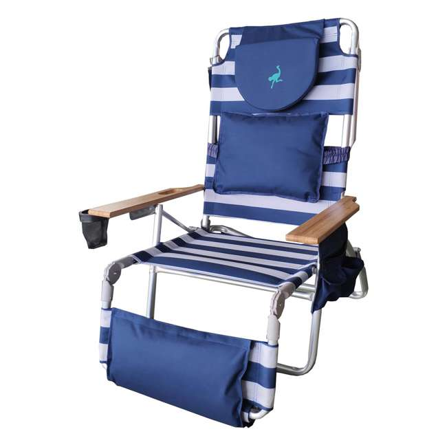 D3N1-1001S Ostrich Deluxe Padded 3-N-1 Outdoor Lounge Reclining Beach Chair, Blue (2 Pack) 1
