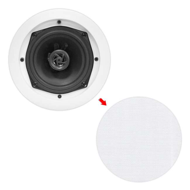 PDIC61RD Pyle Home PDIC61RD 6.5-Inch 400W White Round In-Ceiling Speakers (Pair) 1