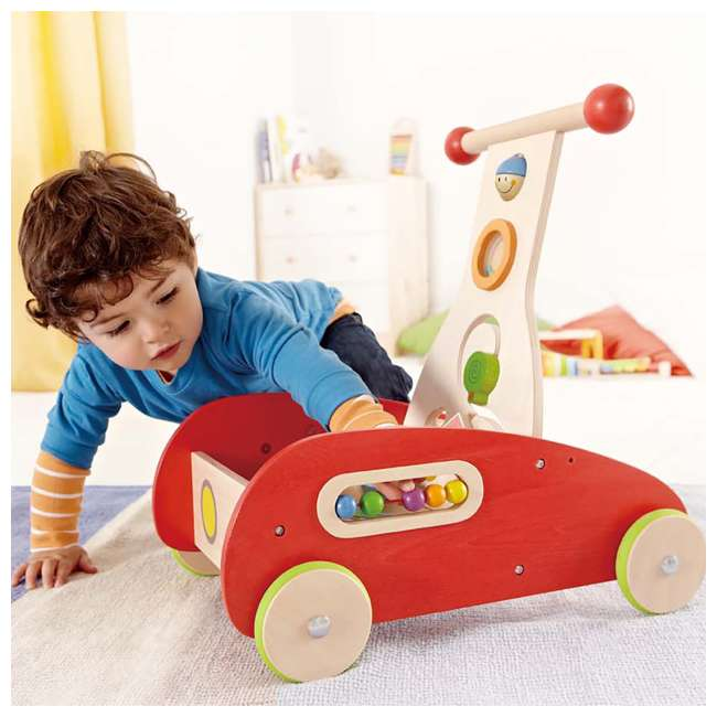 HAP-E0370-U-A Hape Toys Toddler Baby Push & Pull Toy Wonder Walker Cart with Wooden Blocks (Open Box) 4
