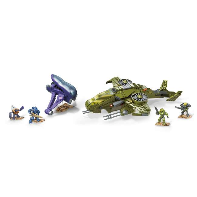 GGF83 Mega Construx Halo Aerial Ambush Block Building Set w/ 2 Vehicles & 4 Figures 1