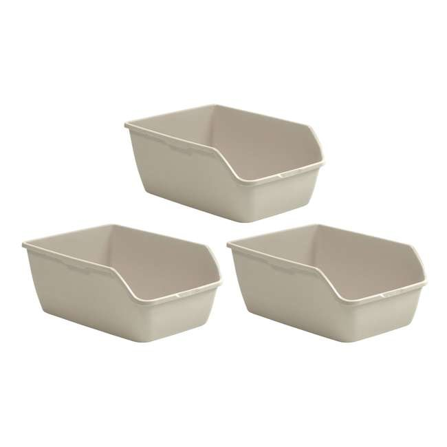 3 x LP3000 Suncast LP3000 Extra Large Easy to Clean Kitty Litter Box, Beige (3 Pack)