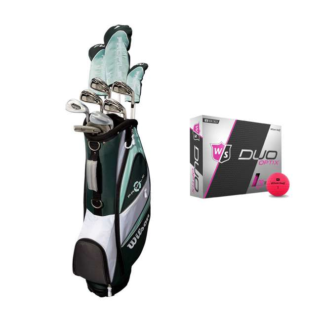 WGGC43800 + WGWP43500 Wilson Profile XLS Women's RH Graphite Golf Club Bag Set & Balls