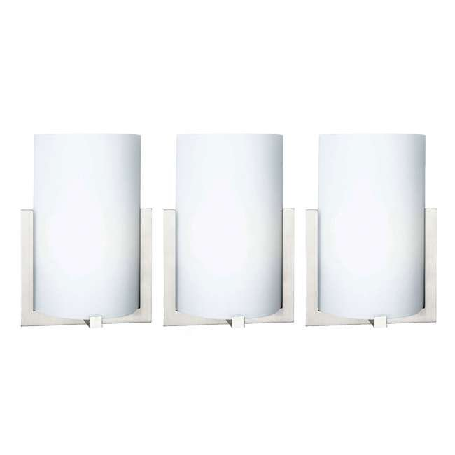 3 x PLC-FL0003836 Philips Forecast 12-Inch Bow 3 Light Wall Sconce, Satin Nickel (3 Pack)