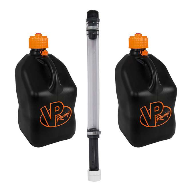 3852 + 3044B VP Racing 5 Gallon Motorsport Racing Fuel Gas Can (2 Pack) w/ 14 Inch Hose Kit