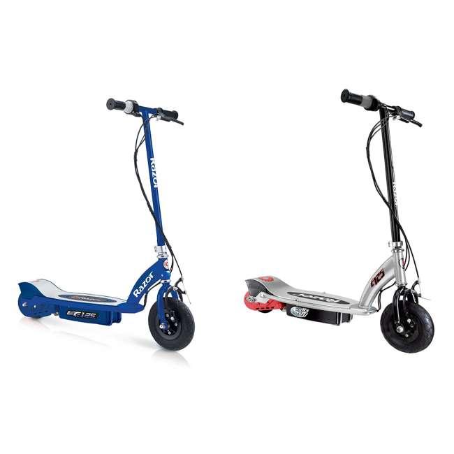 13111141 + 13125E-BK Razor E125 Motorized 24-Volt 10 MPH Rechargeable Electric Scooters, Blue & Black