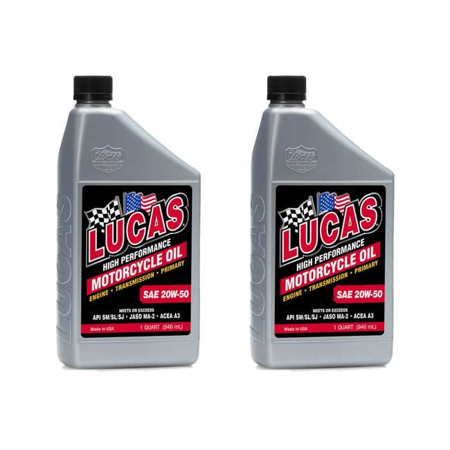 10700 Lucas Oil SAE 20W-50 Performance Trans & Engine Motorcycle Oil, 1 Quart (2 Pack)