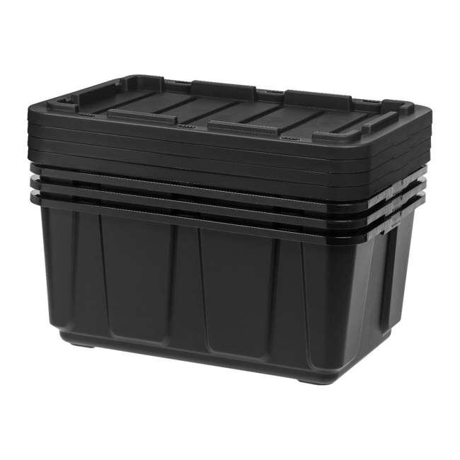 4 x 589090 IRIS USA 589090 27 Gallon Utility Tough Stackable Plastic Storage Tote, Black 5