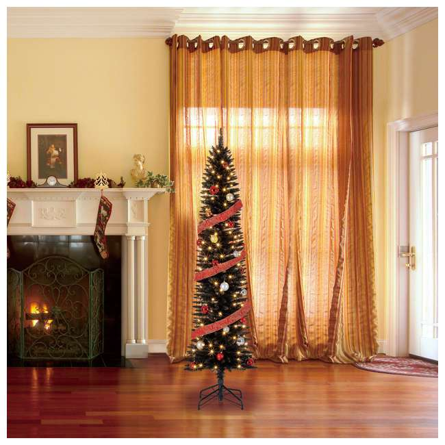 TV70CZ046L05 Home Heritage 7 Foot Pencil Artificial Tree with Warm White LED Lights, Black 3