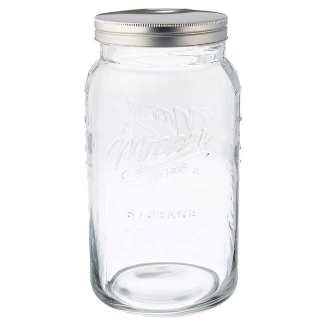 GH-50777 Grant Howard 50777 136 Ounce Jumbo Embossed Glass Mason Storage Jar with Lid