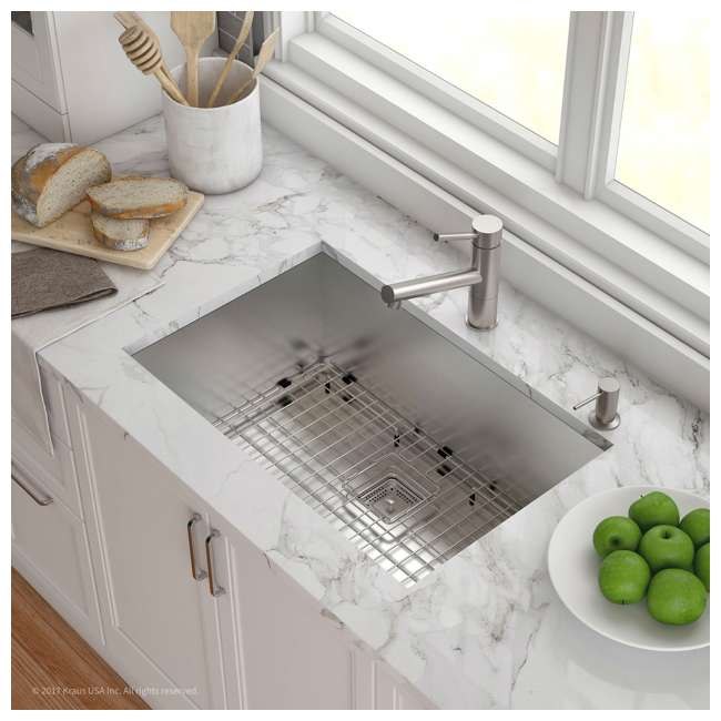 KHU29 Kraus Pax 28-Inch Rectangular Undermount Stainless Steel Kitchen Sink (2 Pack) 4