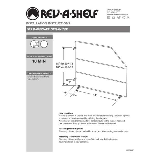 597-18-52 Rev-A-Shelf 597-18-52 18 Inch Bakeware Wire Kitchen Cabinet Organizer, White 5