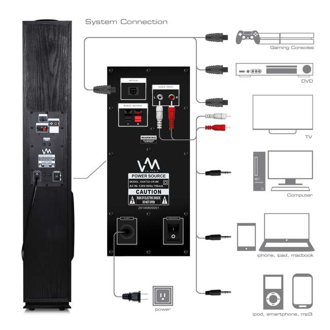 EXAT31-BK VM Audio EXAT31 Black Floorstanding Powered Bluetooth Tower Home Speakers Pair 7