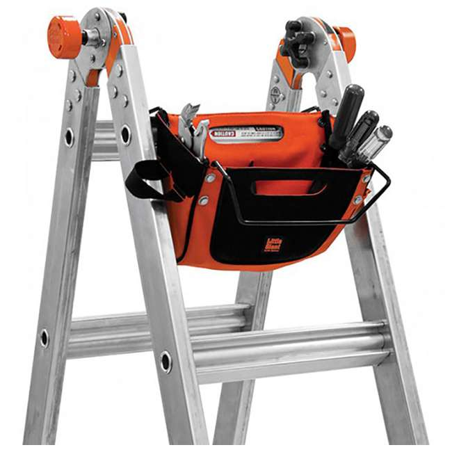 14317-001 + 15040-001 Little Giant Ladder Systems 17-Foot Aluminum Multi-Position Ladder & Tool Pouch 1