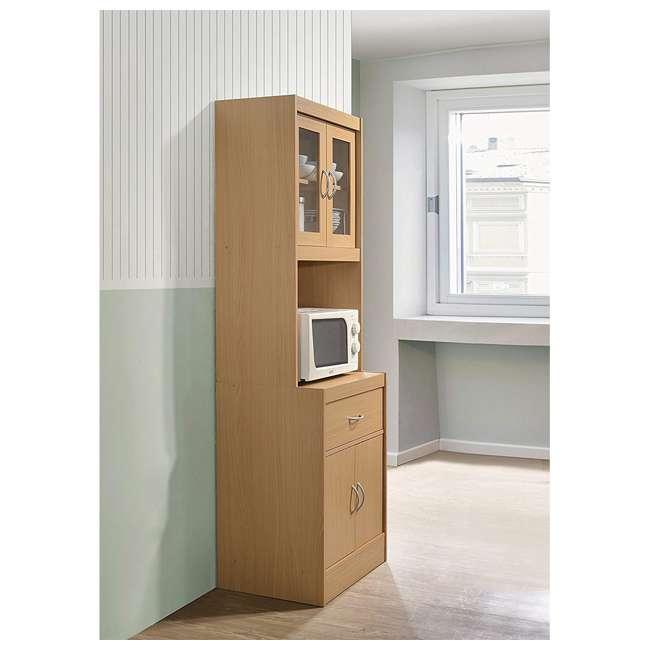 HIK96 BEECH Hodedah Freestanding Kitchen Storage Cabinet w/ Open Space for Microwave, Beech 2