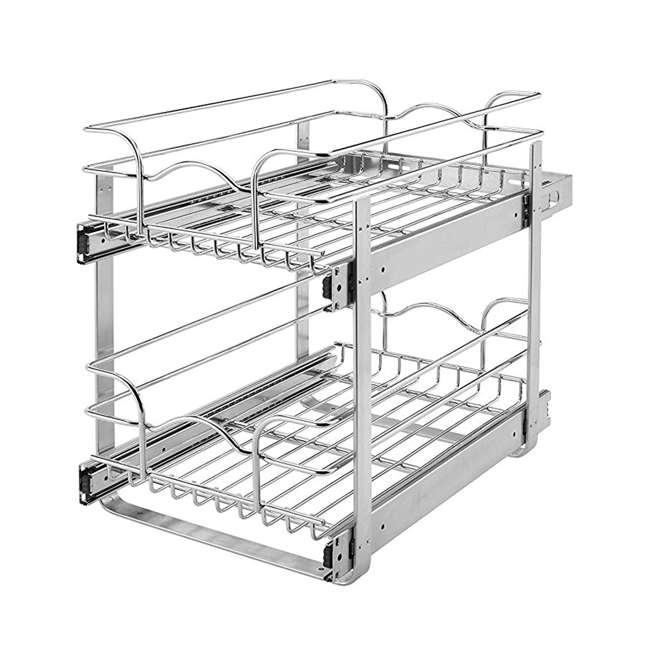 "5WB2-1218-CR Rev-A-Shelf 12"" Wide 18"" Deep Base Kitchen Cabinet 2 Tier Pull Out Wire Basket"