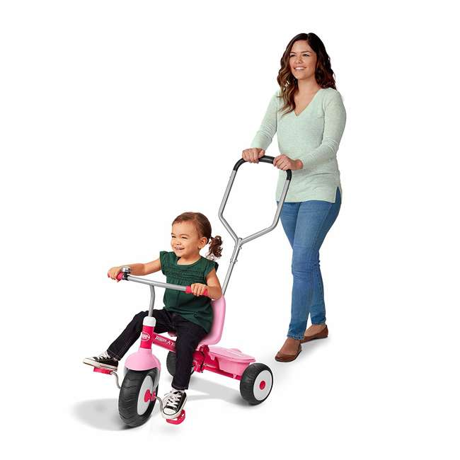 53PZ Radio Flyer Deluxe Steer and Stroll Kids Outdoor Recreation Bike Tricycle, Pink 2