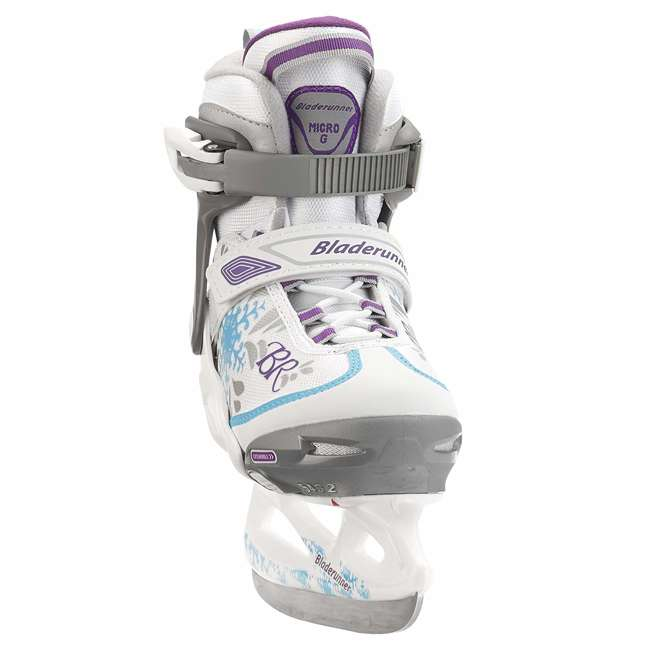 0G144500T1A-L Rollerblade Bladerunner Micro Ice G Girls Adjustable Skates, Large, White/Blue
