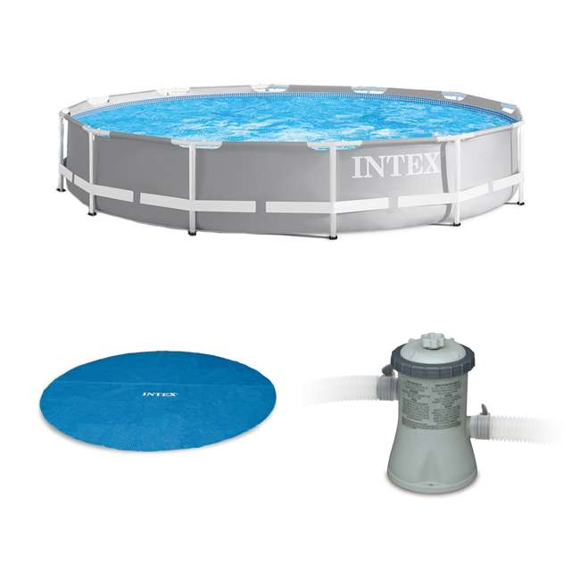 26710EH + 29022E + 28601EG + 2 x 29007E Intex 12 Ft x 30 In Steel Frame Pool | Cover | Filter Pump | H Cartridge 2 Pack