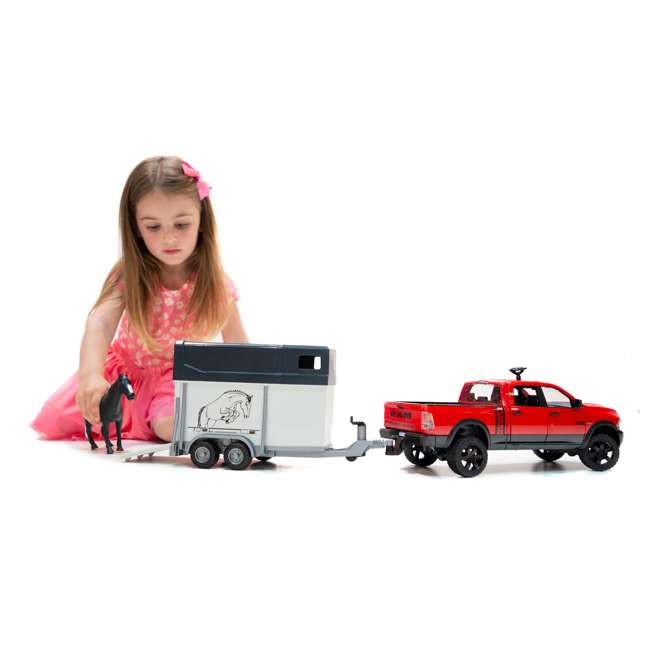 02501-BR Bruder Toys RAM 2500 Power Wagon Truck Toy with Horse & Trailer 2