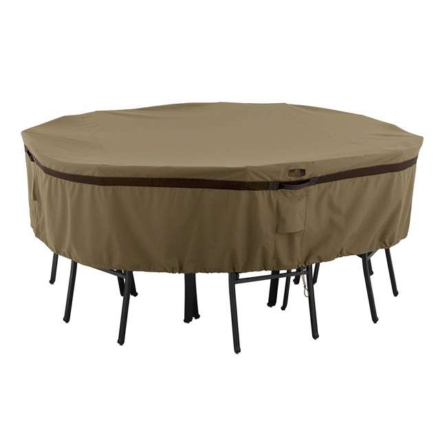 55-216-032401-EC Classic Accessories Hickory 70 Inch Round Patio Table & Chair Set Cover, Medium