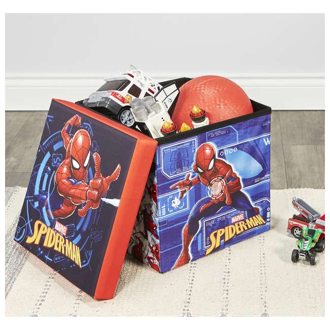 520018-001 Fresh Home Elements 15-Inch Portable Toy Chest & Ottoman Cube, Marvel Spider-Man 5